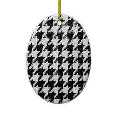 Select Your Color Houndstooth Pattern Christmas Tree Ornaments