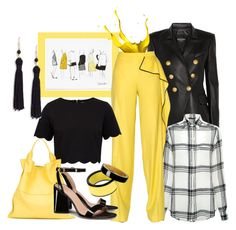 """Lemon Meringue and Black"" by onesweetthing ❤ liked on Polyvore featuring Balmain, Marissa Webb, Vionnet, Ted Baker, Jil Sander, Tory Burch, Marni and Kenneth Jay Lane"