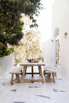 Simple and sweet, this outdoor dining area is the perfect breakfast spot. Shown is the beautiful Antigua Outdoor Dining Package by Outdoor Dining, Outdoor Spaces, Outdoor Decor, Dining Table, Outdoor Tiles, Dining Area, Architecture Renovation, Architecture Office, Futuristic Architecture