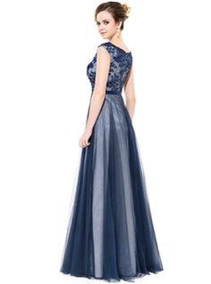Vestidos princesa / Formato A decote redondo Longos Tule Charmeuse Vestido de baile com Renda Bordado lantejoulas (018050388) - JJsHouse