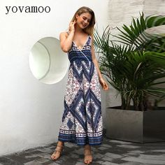 e4ec4a375798 Find More Jumpsuits Information about Yovamoo Sexy Deep V neck Cami Floral  Print Bohemian Vintage High