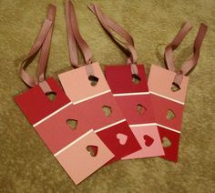 A cute Valentines craft for kids. Create bookmarks with paint colour strips and pink ribbon.