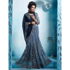 Dhwani Enterprise Georgette & Net Grey & Blue Embroidered Saree - DHE28