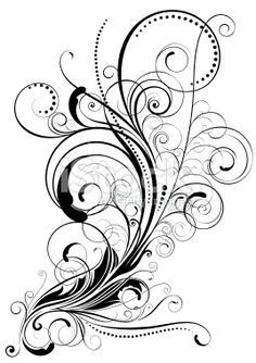 line art drawings of swirls | Swirl floral design Royalty Free Stock Vector Art Illustration