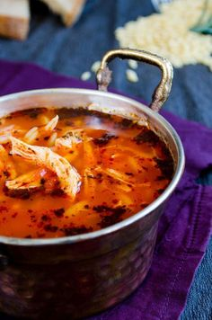 Tomato Chicken Orzo Soup. Tomato gives a very nice tangy-sweet flavor to the soup. Make sure you squeeze enough lemon into your soup. This is the best treatment for the cold! | giverecipe.com