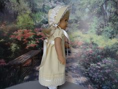 Regency dress with matching bonnet and by ValorieoftheDolls
