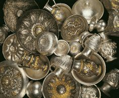 Thracian treasure, 5th-4th century BCE. The silver treasure of Rogozen was discovered in 1985 near the village of the same name in north-western Bulgaria. It consists of 165 vessels including 108 phiales, 55 jugs and 3 goblets. Its total weight is more than 20 kg. _