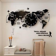 Large World Map Wall Clocks - Luminova Black 74CM