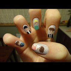 One Direction!!! Nails(: so doing this for my Tatum when we go to their concert!!!