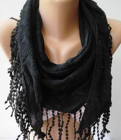 Black  Elegance Shawl / Scarf by womann on Etsy, $17.90