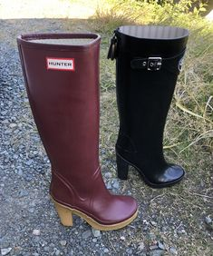 Rain Fashion, Hunter Boots, Rubber Rain Boots, Attitude, Collection, Shoes, Natural Rubber, Boots, Black