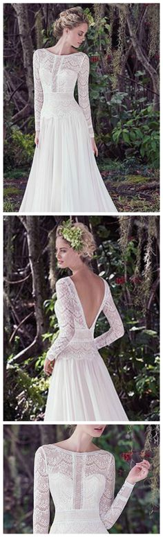 Long Sleeve Wedding Gown by Maggie Sottero. Deirdre is a subtle lace and Santorini chiffon A-line wedding dress, complete with bateau neckline and long sleeves. Illusion lace details and stunning V-back create a sweet-yet-sexy style. Finished with zipper closure.