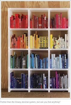 Rainbow sorted bookshelf.