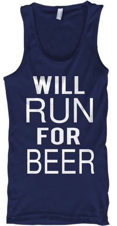 Will Run For Beer Navy T-Shirt Front
