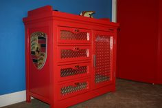 check out this refinished old dresser made to look like a cool big boy's tool box? Car Bedroom, Kids Bedroom, Bedroom Ideas, Nursery Ideas, Kids Furniture, Painted Furniture, Race Car Room, Up House, Old Dressers