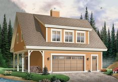 First Level: Foyer entry, two-car garage with integrated workshop area. Second Level: Family room/dining room with fireplace, kitchen, laundry facilities, two bedrooms, two shower rooms.  Garage House Plan # 181684.