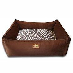 "Luca Lounge Dog Bed - Chocolate/Brown Zebra $10.00 Large Luca Lounge Dog Beds with code ""barkbed"" at checkout."