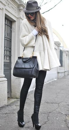 hat, sunglasses, coat, leather, pant, heels, fashion, black, fall, winter