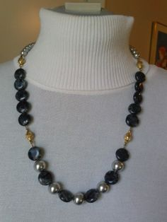 """Item #F7930 24"""" Larvikite, glass pearl with gold-tone stations. Gold filled hook/eye clasp.  $35."""