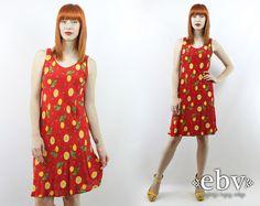 Vintage anni 90 rosso  giallo limone sole stampa Dress di shopEBV