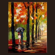 BOGO FREE SALE Kiss Print original Giclee on canvas Original Painting Modern Rainy Umbrella Couple ParkColorful gift readty to hang by Milen by MilenART on Etsy https://www.etsy.com/listing/87075866/bogo-free-sale-kiss-print-original