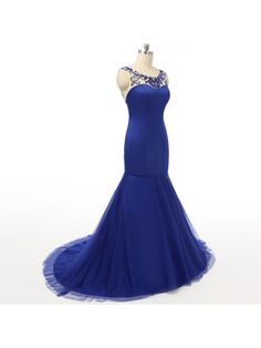Sexy Mermaid Royal Blue Prom Dresses Sheer Neck Satin Bodice Tulle Skirt Beaded Backless Evening Gowns- Formal Dresses