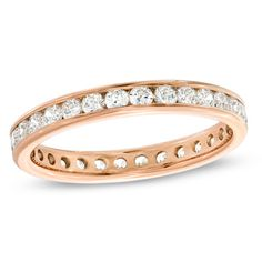 Diamond Channel-Set Eternity Wedding Band in Rose Gold