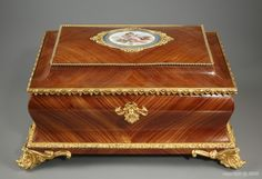 French casket in wood marquetry, signed Jensen - c1870