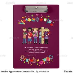 Thank You Teacher / Teacher Appreciation Day / Teacher Appreciation Week / Graduation Gift Clipboards for Teachers with a customizable text.   in the artofmairin store at zazzle.com