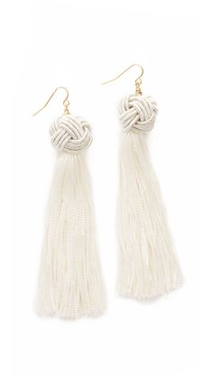 Vanessa Mooney The Astrid Knotted Tassel Earrings - Ivory | SHOPBOP.COM saved by #ShoppingIS