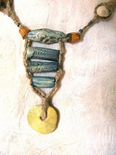 Reserved for susan Artisan Necklace hemp ceramic by greybirdstudio, £80.00