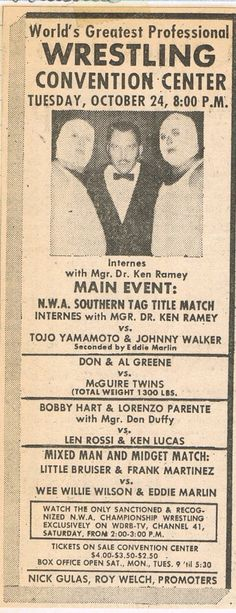 The Interns and Dr. Ken Ramey--note that one of their opponents in this match became a famous masked man later in his career (Johnny Walker/Mr. Wrestling 2).