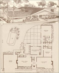 """1960 Ranch & Modern Homes by Hiawatha T. Estes, Plan No. 3705, 1,972 SF.   This design is all about access to the patio at the rear of this home.  The house is roughly L-shaped and wraps the patio providing ample access from the master bedroom, kitchen, den, and hall.  The living room suffers from the """"best room"""" syndrome which was common to many mid-century middle-class houses. Three bedrooms and two and a half baths make this a spacious home, particularly with the huge private outdoor space."""