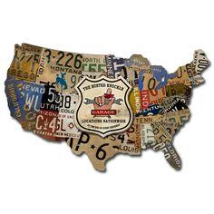 USA Road Map Metal Garage Sign