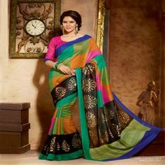 Beautiful Bollywood Star Jennifer Winget Multi Color Cochin Silk Saree