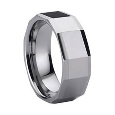 Man's Beautiful Tungsten Dating Ring Faceted