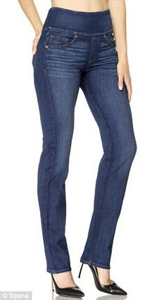 Spanx Signature Straight in Blue Wash: Jeans with stomach control panel