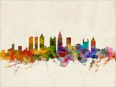Atlanta Georgia Skyline Art Print  12x16 up to 24x36 by artPause, £12.99