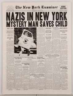 "Hero New York Examiner newspaper with ""Nazis in New York"" headline from Captain America The First Avenger"
