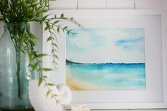 Framed watercolor beach scene
