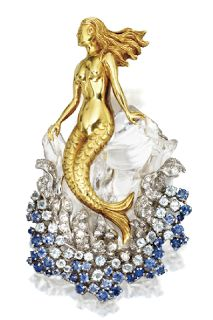 Art Nouveau Mermaid woman brooch made with plique-a-jour enamel, diamonds, gold and a pearl, by Gaston Lafitte, France, circa 1900. ...