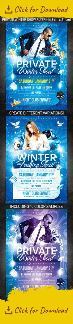 """celebration, champagne, dance, decorations, disco ball, dj, fashion, festival, fun, glamour, gold, holiday, ice, luxe, merry christmas, money, music, new year, night, nightclub, party, performance, private, red, riches, snow, snowflake, vinyl player, winter, xmas """"Private Winter Show Flyer"""" for the New Year's or Christmas party/club event or any other night club event.   Files are structured in folders for easy editing.  Change text, edit colors, move items, turn/off layers creating ..."""
