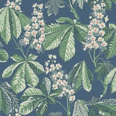 Den blommiga tapeten Chestnut Blossom är täckt av storslagna, stiliserade kastanjeblommor och -blad. En klassisk design från vårt tapetarkiv, men här i ny tappning. Chest
