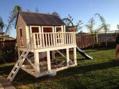 Playhouse | Do It Yourself Home Projects from Ana White.. Could enclose the bottom for a kitchen area and the top for a play area