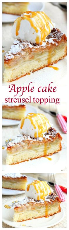 Super easy to make, this buttery, moist and soft apple cake has layers of thinly sliced apples and a sweet and flavorful streusel topping! Just perfect with a cup of coffee!