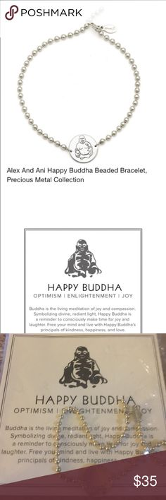 """Alex and Ani Happy Buddha Beaded Bracelet Alex and Ani RARE Precious metals collection PRODUCT DETAILSWeb ID 1026260 Sterling silver fill or 14k gold fill/recycled brass base Made in USA 7.5""""L Adjustable hook closure Photo may have been enlarged and/or enhanced Alex & Ani Jewelry Bracelets"""