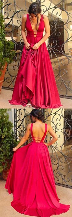 Gorgeous A-line V-neck Red Long Prom Dress Evening Dress
