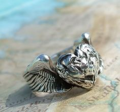Silver Winged Heart Ring, Jewelry Gift for Her in by HappyGoLicky, $65.00