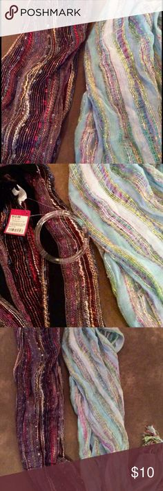 Target Scarf Set! Set of 2 multi-colored scarves, never worn! Each originally sold for $12.99- tags still attached on the brown one, there's no tag on the blue but they are the same brand. I can sell separately if only interested in one :) Mossimo Supply Co. Accessories Scarves & Wraps