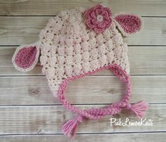 Lamb hat crochet lamb hat baby photo prop baby by PinkLemonKnits